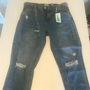 Urban Planet Distressed Blue Mom Jeans w/ Belt